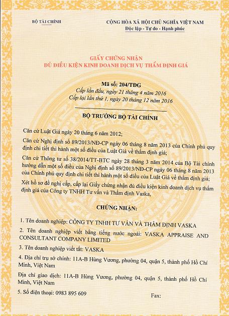 TRANG 1 - Quyết Định 204/TĐG ngày 20/12/2016